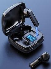 Display led tws bluetooth fones de ouvido com controle toque microfone sem fio fones fone à prova dwaterproof água redução ruído no ouvido