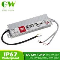 Transformador de iluminación para luz exterior, controlador LED resistente al agua IP67, DC12V, 24V, fuente de alimentación de 12V, 10W, 20W, 30W, 45W, 60W, 100W, 200W y 300W