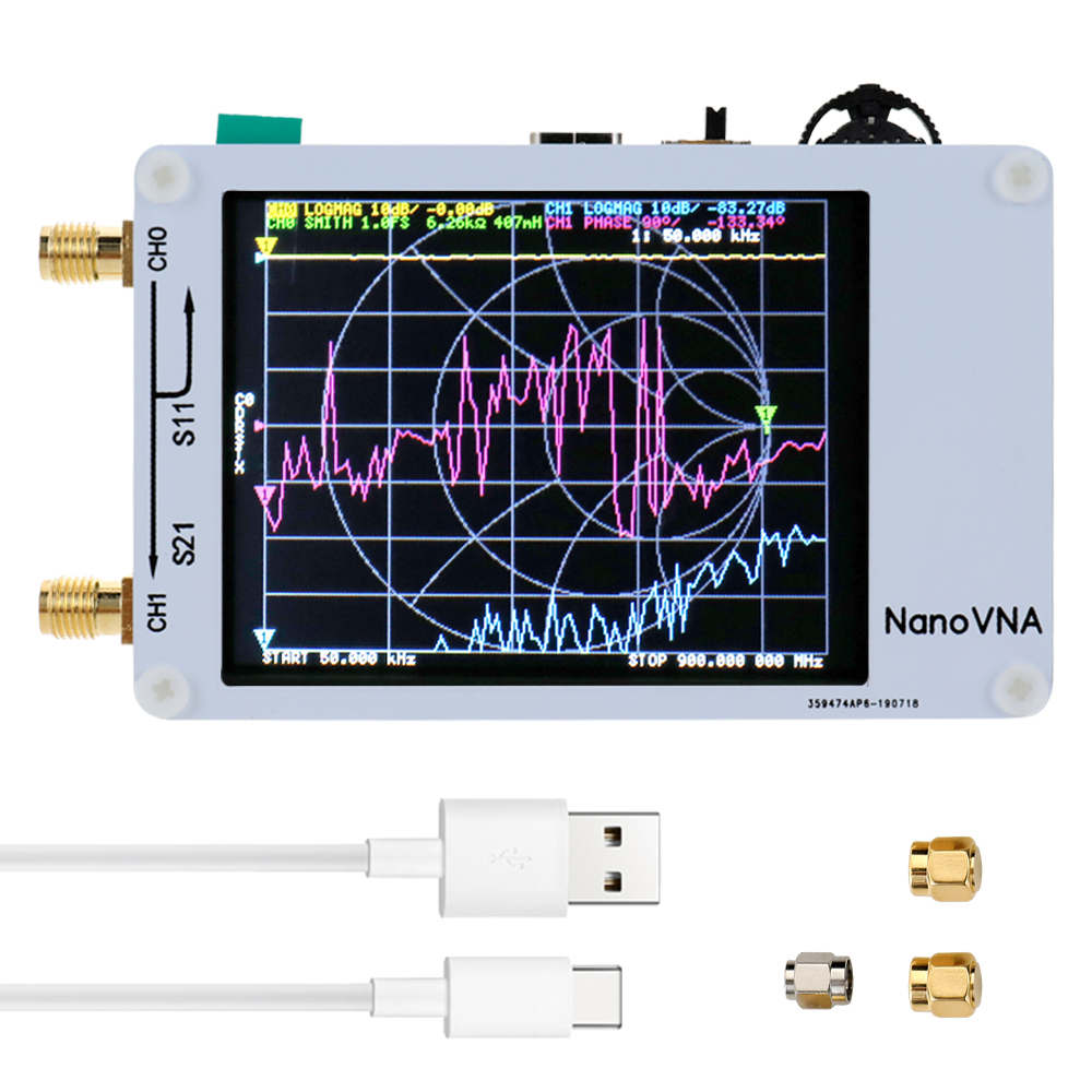 Vector Network Analyzer 2.8 Touching Screen 50KHz-900MHz Digital Display Shortwave MF HF VHF UHF Antenna Analyzer Standing Wave