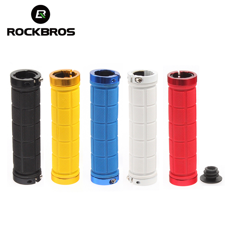 New Rockbros Bicycle TPR Rubber Non-slip Handlebar Aluminum Alloy Lock-on Grips