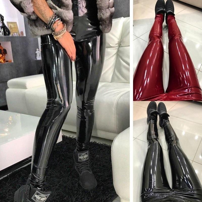 Women's   Leggings   Hot Selling Solid High Waist   Leggings   Sexy Black Slim Bottom Leginsy Pants PU Leather Legins Moda Mujer 2019