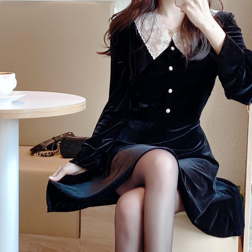 Party Lace Velvet S XL Plus Size New Spring Femme Dress Girls Female Vintage Dress Long Sleeve Women Dresses Long Robe Vestido