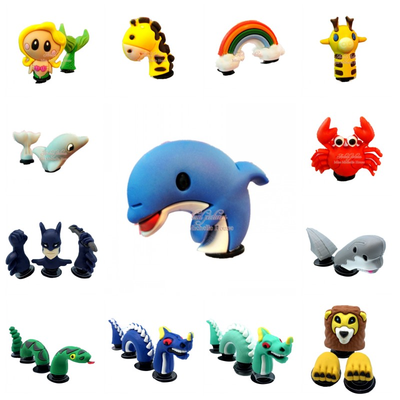 1set Cool 3D PVC Shoe Charms Lovely Mermaid Rainbow Shoe Accessories Dolphin Snake Animals Croc Decoration JIBZ Kids Gift