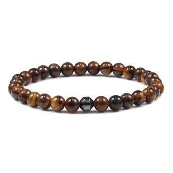 Classic Men Bracelet 6mm Natural Lava Stone Bead Energy Hematite Strand Thin Bracelets Bangles Homme Yoga Jewelry Pulsera Hombre 2