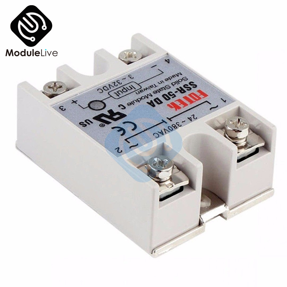 24V-380V 50A 250V SSR-50DA Solid State Relay Module 3-32V DC To AC SSR-50 DA SSR for PID Temperature Controller Voltage