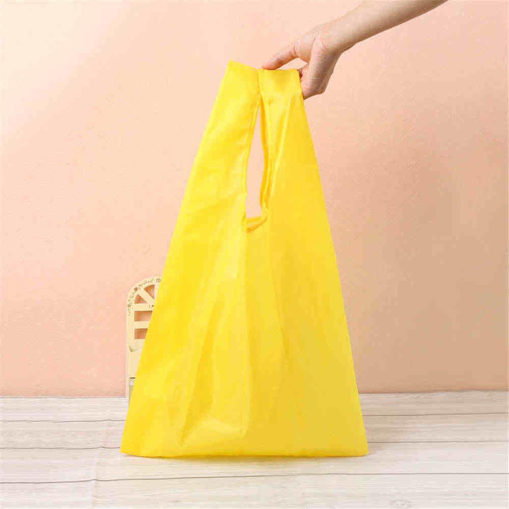 1 قطعة حقيبة تسوق البوليستر مقاوم للماء المحمولة للطي الإبداعية قابلة لإعادة الاستخدام طوي ايكو حمل السوق كيس بقالة 33*55 سم