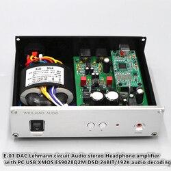E-01 Lehmann circuit Audio stereo Headphone amplifier with PC USB XMOS ES9028Q2M DSD 24BIT/192K audio decoding DAC