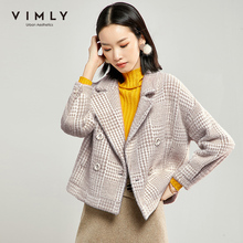 Short Coat Vimly Wool Jacket Collar Plaid Female Vintage Double-Breasted Winter Women