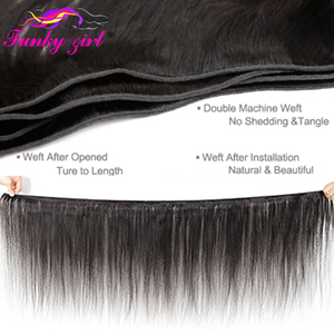 Image 2 - Funky Girl Brazilian Hair Weave 3 Bundles With Lace Closure Free Part Straight Human Hair Bundles With Closure Non remy Hair
