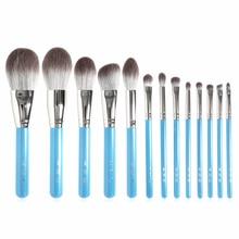 MY Destiny 13 sztuk Makeup Brushe Set perłowe niebieskie drewno uchwyt miękkie włosy syntetyczne Powder Blusher Bronzer cienie do powiek Brush
