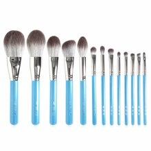 Meu destino 13 pçs maquiagem brushe conjunto de madeira azul perolado punho macio cabelo sintético pó blush bronzer sombra escova cosmética