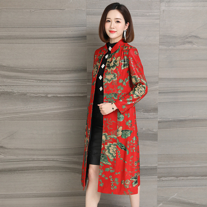 Spring Autumn Real Fur Long Coat Sheepskin Red Printed Vintage Plus Size 3xl Luxury High Quality Women Genuine Leather Outwear