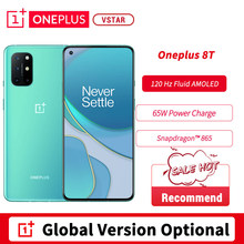 Versão global opcional oneplus 8t telefone inteligente 6.55 fluid 120120hz fluido amoled snapdragon 865 octa núcleo 65w urdidura carga android 11