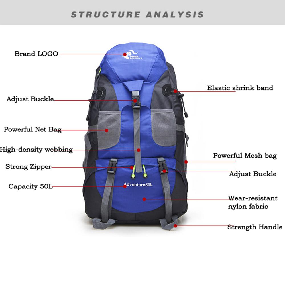 Image 3 - Outdoor Rucksack Camping Hiking Backpack Trekking 45L&50L Purple Waterproof Sports Bag Backpacks Bag Climbing Travel Rucksacksport bagclimbing bagrucksack travel -