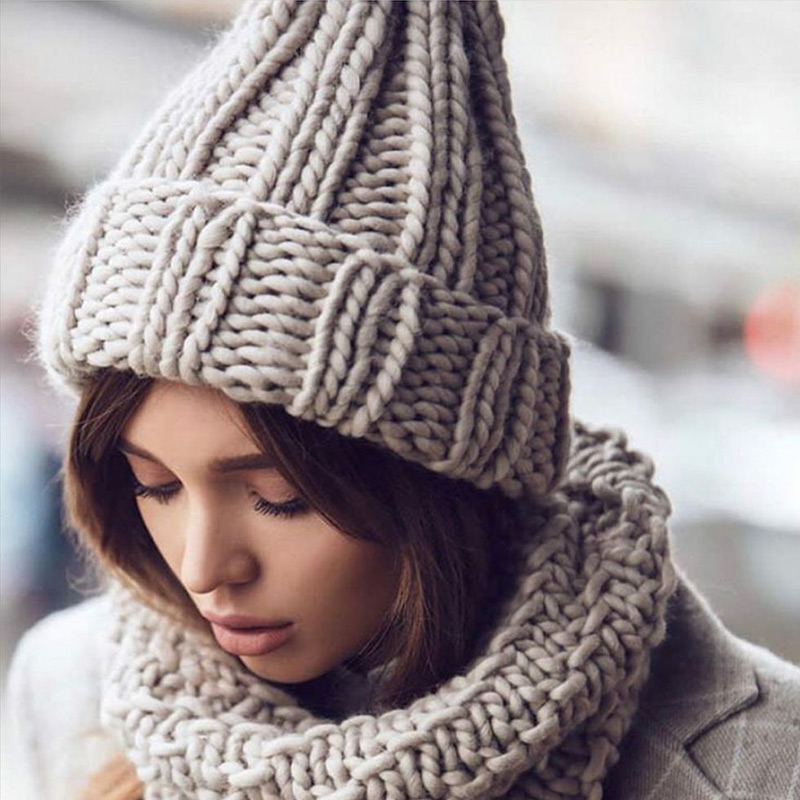 Women Hand Made Knitting Hat High Quality Customizable Logo Winter Warmer Ear Thick Soft Beanie Lady Chunky Knitted Rib Hats