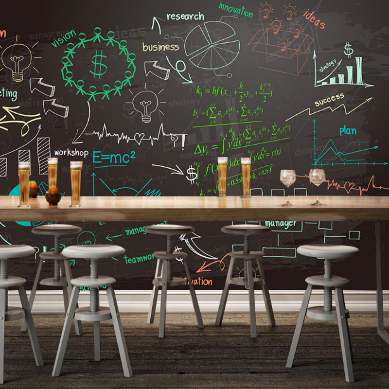 Retro Nostalgic Blackboard Newspaper Wallpaper Hand-Painted Graffiti Formula Wall Bar Catering Cool Workwear Wallpaper Mural