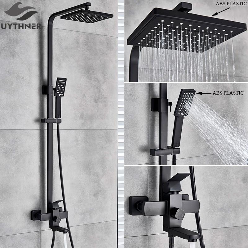 Uythner matinis juodas lietaus efekto dušo vonios maišytuvas