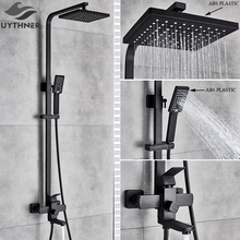 Uythner Bathroom Faucet Matte Black Rain Shower Bath Faucet Wall Mounted Bathtub Shower Mixer Tap Shower Faucet Shower Set Mixer cheap CN(Origin) PENQIHEI Contemporary Cold and Hot With Slide Bar Bronze Single Holder Dual Control Ceramic Single Handle Blackened