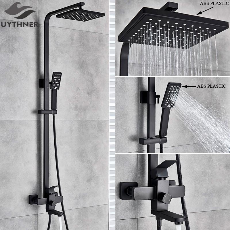 Uythner Bathroom Faucet Matte Black Rain Shower Bath Faucet Wall Mounted Bathtub Shower Mixer Tap Shower Faucet Shower Set Mixer