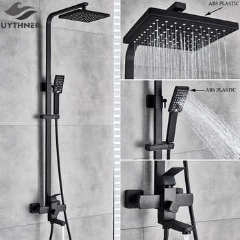 Uythner Bathroom Faucet Matte Black Rain Shower Bath Faucet Wall Mounted Bathtub Shower Mixer Tap Shower Faucet Shower Set Mixer - DISCOUNT ITEM  35% OFF Home Improvement