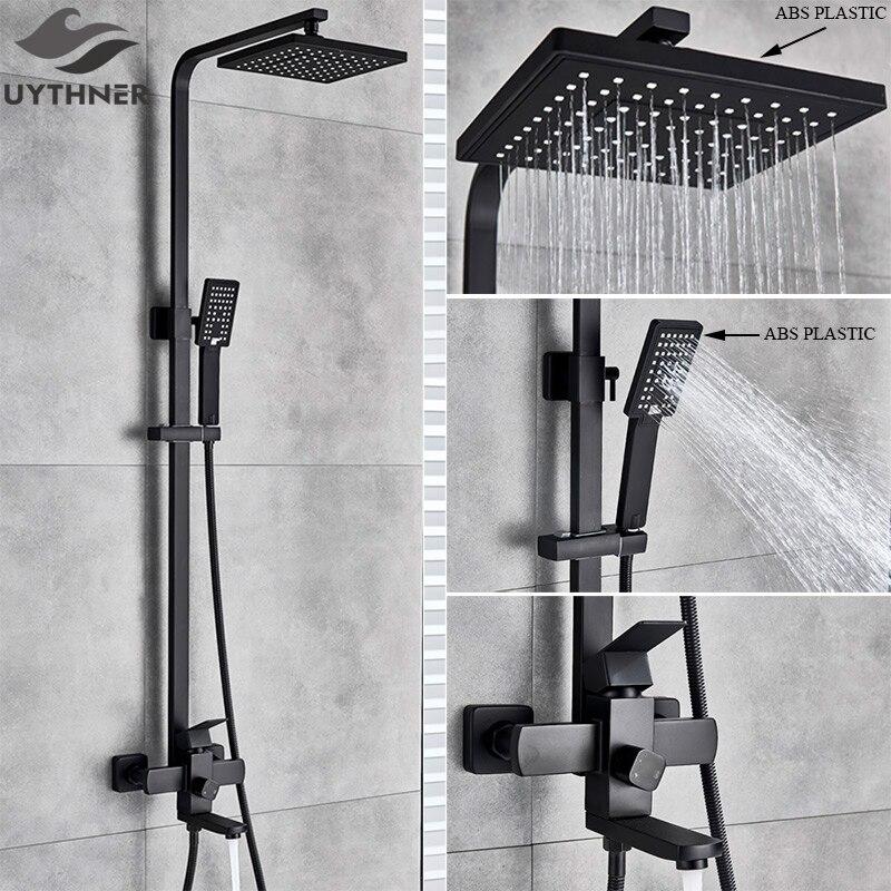 Uythner torneira do banheiro preto fosco chuva chuveiro banho torneira fixado na parede da banheira chuveiro misturadora torneira do chuveiro conjunto misturador