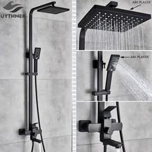 Uythner Bad Wasserhahn Matte Schwarz Regen Dusche Bad Wasserhahn Wand Montiert Badewanne Dusche Mischbatterie Dusche Wasserhahn Dusche Set Mixer