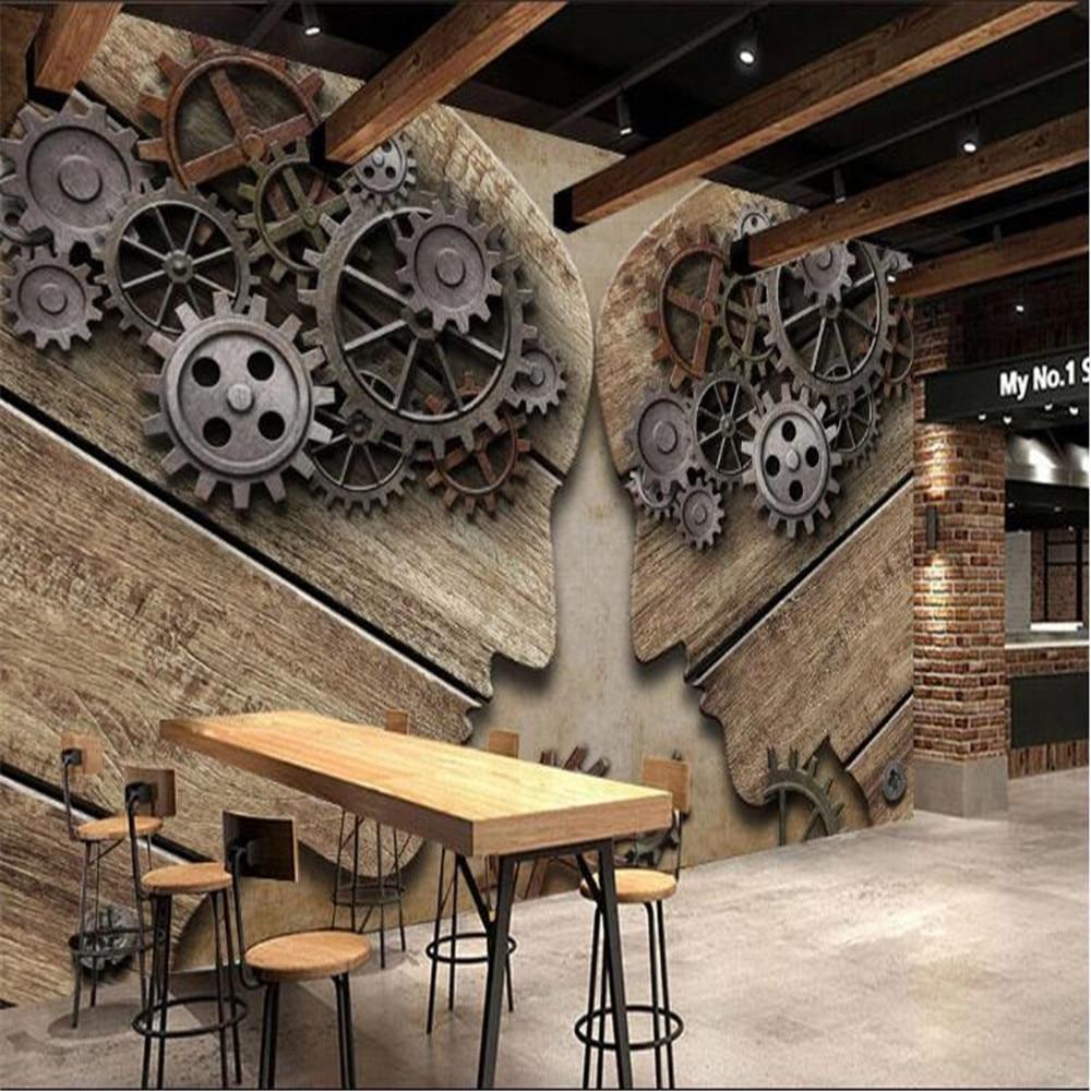 Milofi custom 3D wallpaper mural European and American style retro industrial gear personality wood grain background wall