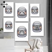 Astronauta animal pintura em tela retrato engraçado parede imagem da arte da parede nórdico espaço cartaz e impressão para crianças decoração do quarto