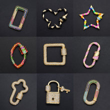 2020 Diy Geometric CZ Clasp Wholesale Heart Necklace Zircon Claps Lock Key Connector Clasps For Oval Star Jewelry Making