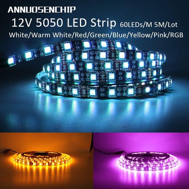 DC 12V LED Strip 5050 SMD 60LEDs/M Black PCB Board Flexible LED Light Waterproof RGB 5050 LED Tape For TV Background Decoration