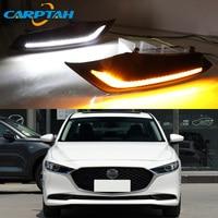 LED Daytime Running Light For Mazda 3 Axela 2019 2020 Waterproof 12V Yellow Turn Signal Indicator Light Bumper Lamp LED DRL