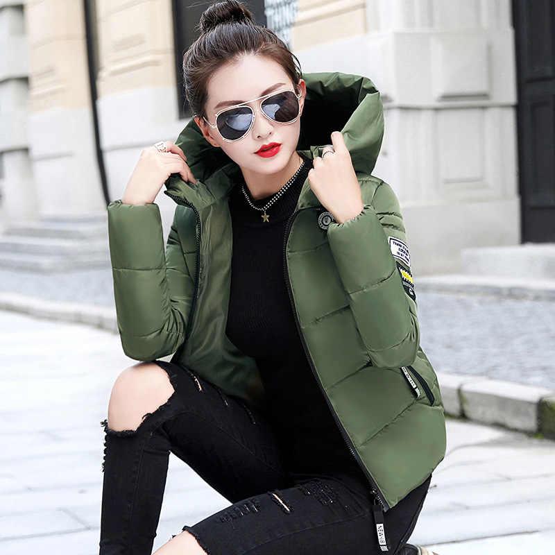 Winter Down Jas Voor Vrouwen 2020 Casual Lange Mouwen Zipper Korte Jas Jassen Lady Zakken Hooded Tops Plus Size