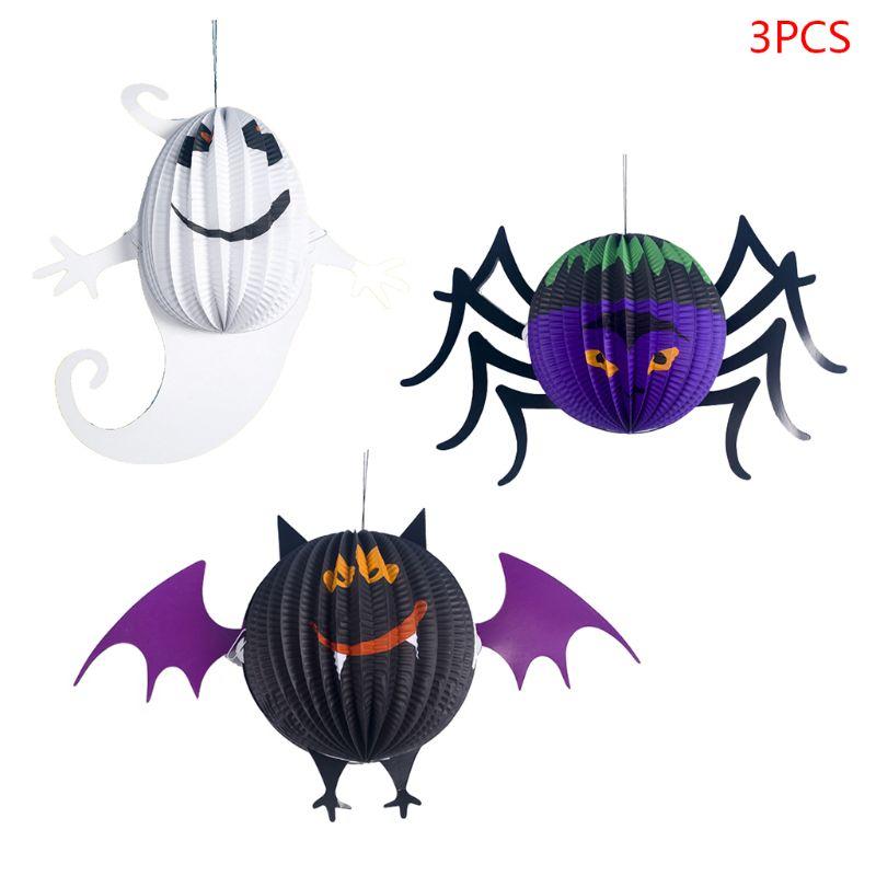 3pcs/set Paper Bat Spider Ghost Pendant Hanging Ornament Halloween Party Decor Props Supplies DIY