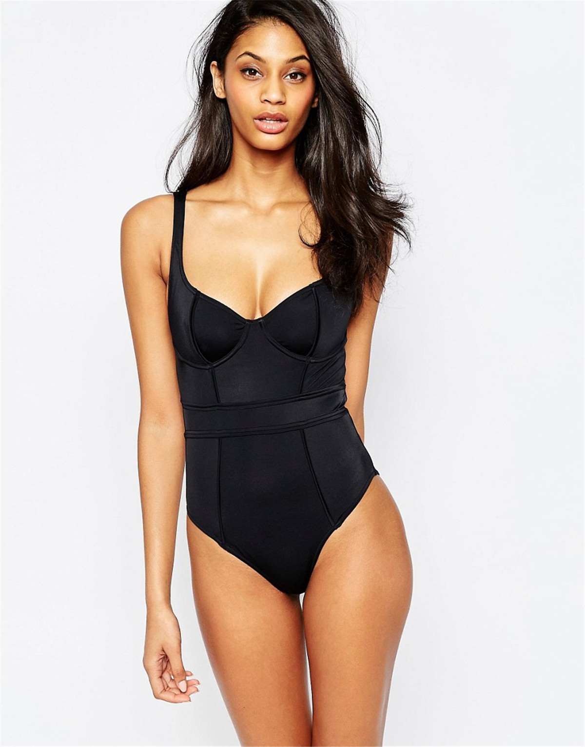 'PromoteOne-Piece Swimsuit Monokini Thong Beachwear Backless Black Sexy Solid Women Female Brazilian