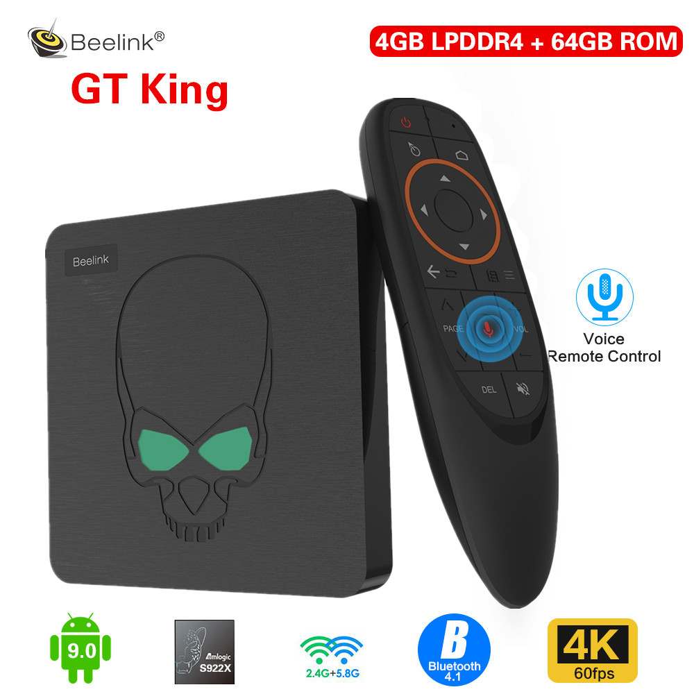 Beelink GT-King Smart TV Box Amlogic S922X Android 9.0 4GB LPDDR4 64GB ROM Support 2.4G Voice Remote Control 4K