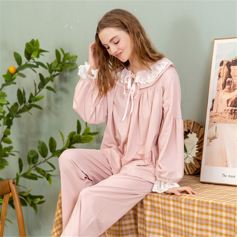 pyjamas women Japanese cotton pajamas women's suit long-sleeved casual thin cute lapel loose home service lounge set women