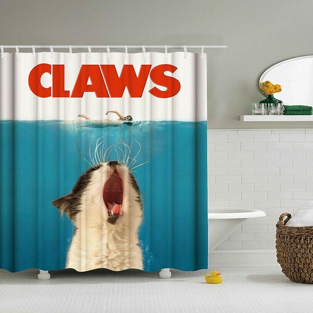 Kumaş banyo duş perdesi kancaları banyo perde 3d derin deniz pençeleri hayvan perdeler su geçirmez kedi perdeler