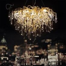Nordic luxo led lustre de cristal loft villa decoração pingente lâmpada para sala estar do hotel salão arte decoração iluminação interior