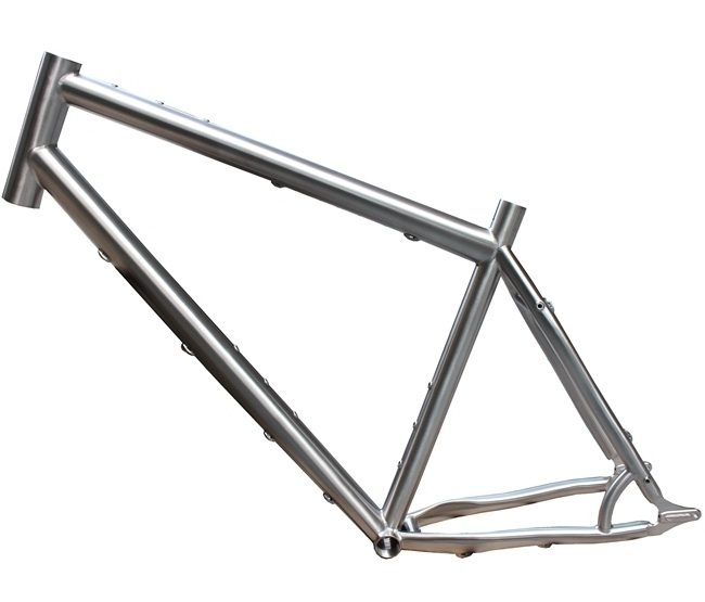 titanium mountain bike frame with 44mm head tube and sliding dropouts BSA thread BB shell