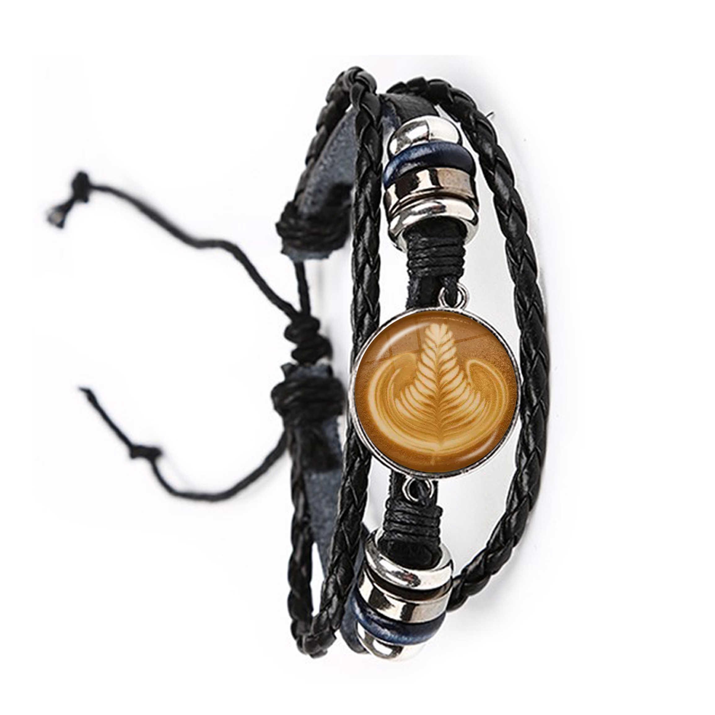 コーヒーラテ彫刻曼荼羅ガラスカボション革ブレスレットチョコレート印刷 4 葉のクローバーのための男性