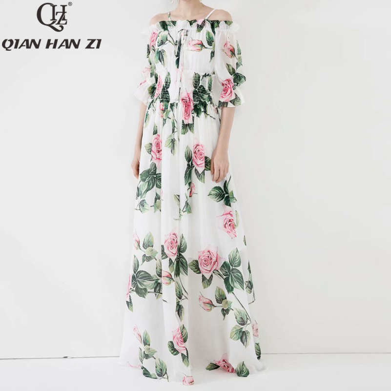 QHZ 2020 fashion summer Maxi <font><b>dress</b></font> Women Slash neck <font><b>sexy</b></font> chiffon <font><b>boho</b></font> long <font><b>dress</b></font> <font><b>Elegant</b></font> floral print Floor-Length <font><b>beach</b></font> <font><b>dress</b></font> image