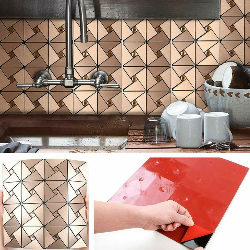 - 4Pieces Homey Mosaic Peel And Stick Kitchen Backsplash Aluminum