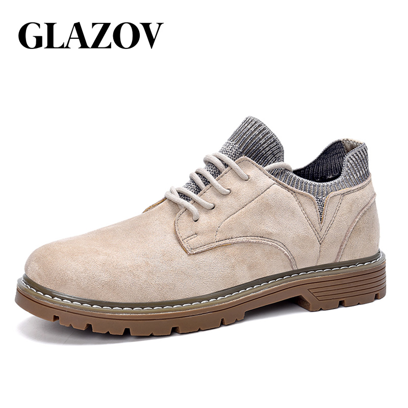 New 2019 GLAZOV Brand Autumn New Men Casual Shoes High Quality Flannel Men Winter High-top Fashion Men Winter Shoes Work Shoes