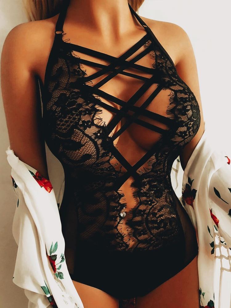 Porno Sexy Lingerie Women Lace Bodysuit One Piece Catsuit Leotard Babydoll Bodystocking Sleepwear Underwear Nightwear Teddy