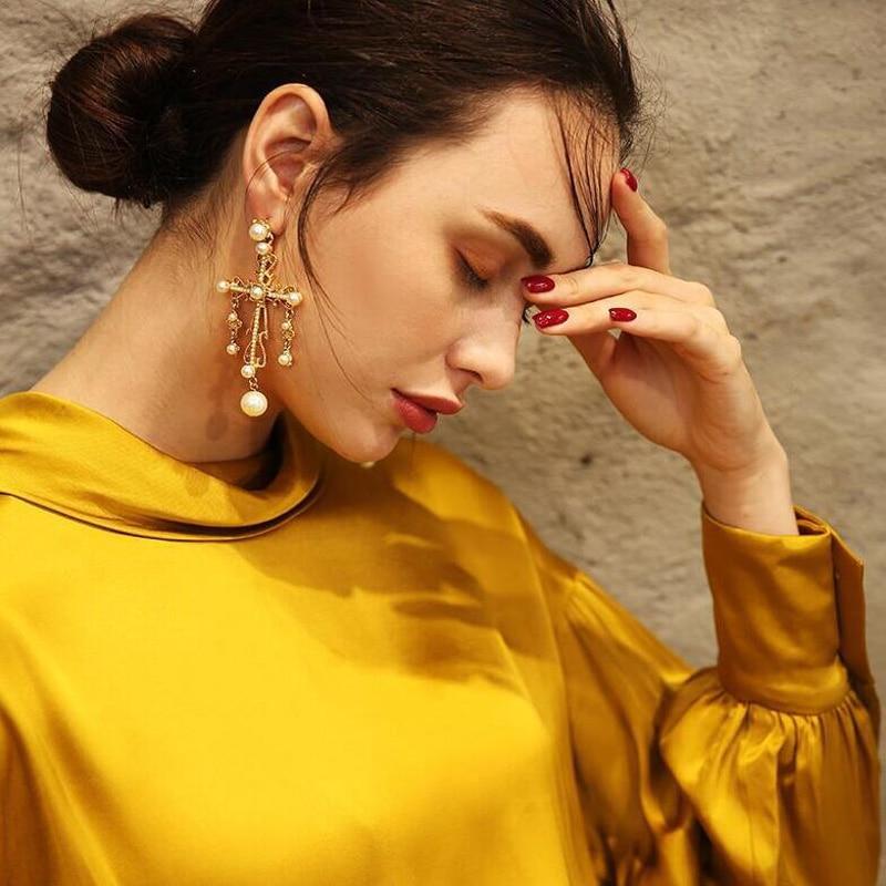 Exknl Baroque Big Cross Earrings For Women Pearl Wedding Drop Long Earrings Jewelry Brincos 2020 Bridal Flower Star Earrings