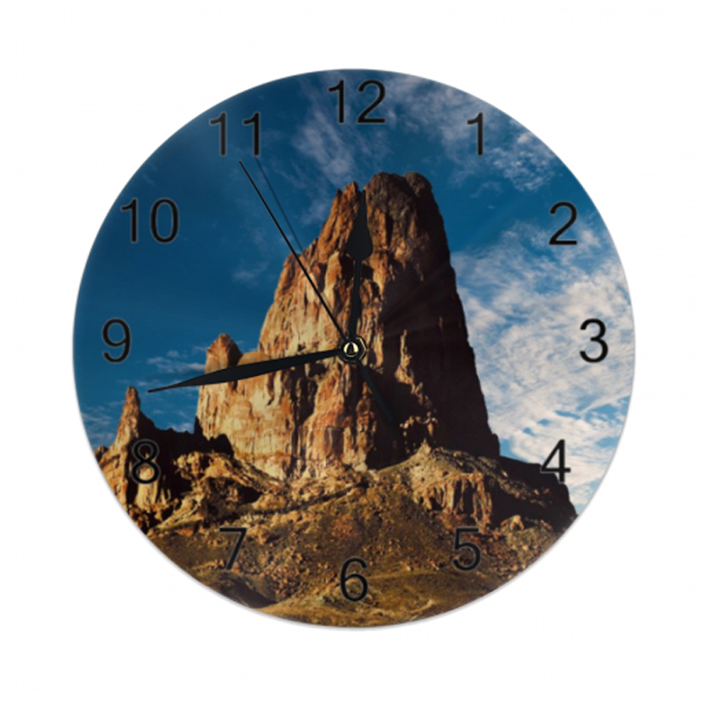 10inch Mountain WallClock Nature Scenery Numeral Digital Dial Mute No Ticking Sound Battery Operated Clocks For Home Living Room