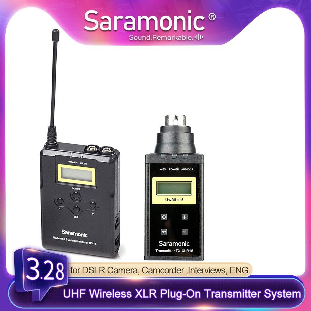 Saramonic uwmic15b 16-channel uhf sem fio xlr plug-on sistema de transmissor para dslrs, mirrorless & video entrevistas, eng