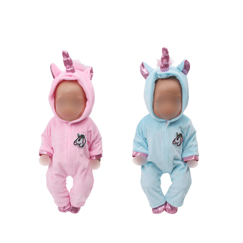 43 Cm Baby Dolls Clothes Newborn Cute Pink Unicorn Costume Baby Toys Blue Jumpsuit Fit American 18 Inch Girls Doll Zf10
