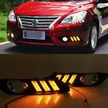 רכב מהבהב 1 סט עבור ניסן Sylphy sentra 2013 2014 2015 LED DRL בשעות היום ריצת אור אור יום עמיד למים אות מנורה