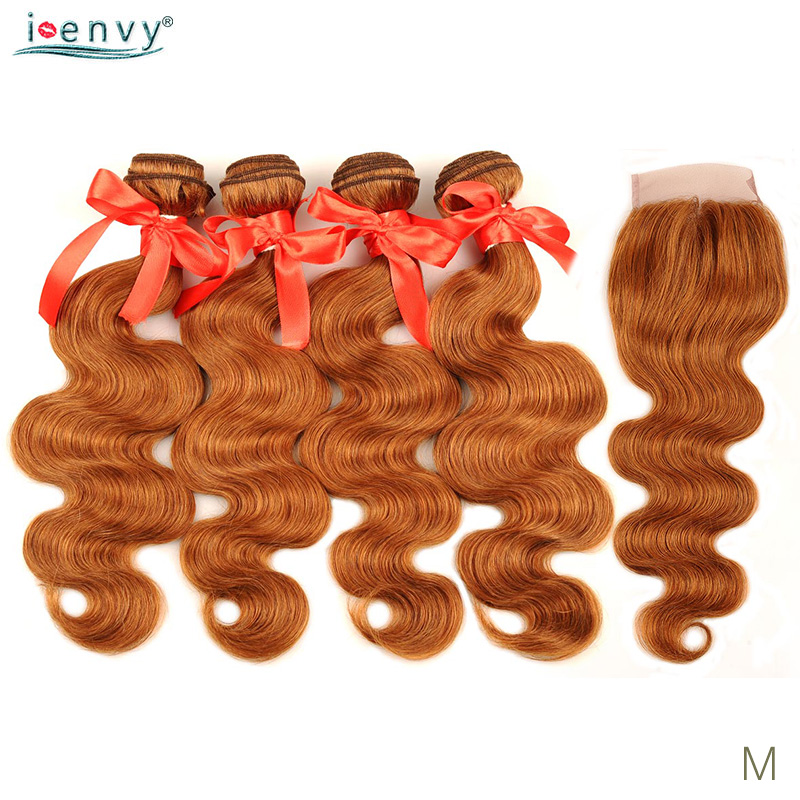 Gold Blonde Body Wave Bundles With Closure Colored 30 Brazilian Ginger Blonde Human Hair 4 Bundles With Closure Non-Remy Weave